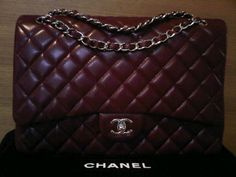 #WholesaleBagClan.COM  Classic deep red Chanel quilted bag