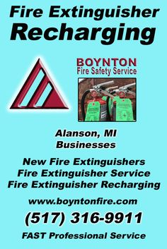 Fire Extinguisher Recharging Alanson, MI (517) 316-9911 Local Michigan Businesses Discover the Complete Fire Protection Source.  We're Boynton Fire Safety Service.. Call us today!