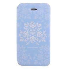 Blauwe Bloem Ground Patroon PU Leather Full Body Case voor iPhone 4/4S – EUR € 7.35