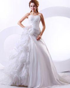 Robe de mariage pas cher en satin et organza fleur froufrou [#ROBE206303] - robedumariage.com