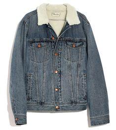 The Madewell Men's Sherpa Jean Jacket Maura Wants for Herself Womens Sherpa, Lined Denim Jacket, Distressed Jean Jacket, Love Jeans, Ripped Denim, Denim Fashion, Jackets For Women, Madewell, Classic