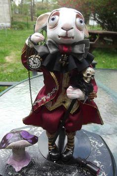 "The ""Mad Rabbit"" Art Doll,Gothic,Alice in Wonderland inspired,Polymer Clay,IADR"