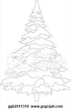 christmas tree silhouette snow | Drawing - Christmas fir tree with snow, holiday winter symbol ...