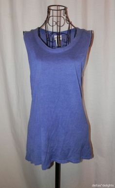 CHICO'S TOP 2 L Large Solid Purple Knit Sleeveless Round Neck Sweater Tank Silk