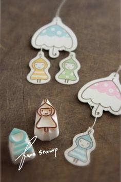 raincoat and umbrella stamps [ふわふわ堂]