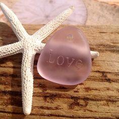 Sea glass bead-engraved word bead-love by SeasideJewelry1 on Etsy