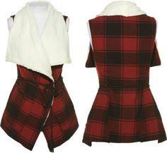 15DOLLARSTORE.COM - JOLT Red/Black Plaid Open Vest w/ Faux Sheep Skin Lapels