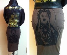 Your ass looks Divine darling!!!  Custom made wiggle skirt made from a t-shirt!!  Not only is the hand drawn and printed design of Miss Divine amazing, telling everyone you're standing in a t-shirt that looks this hot will make you the envy of every pencil skirt lover.  This garment is hand printed, t-shirt and ink color options are available.  Please inquire about color options and sizing when ordering. $15