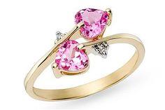 Carat Created Pink Sapphire Heart and Diamond Gold Ring Pink Sapphire Ring, Pink Topaz, 14k Gold Ring, Gemstone Colors, Gemstone Rings, Elegant Wedding Rings, Best Engagement Rings, Heart Jewelry, Pink Jewelry