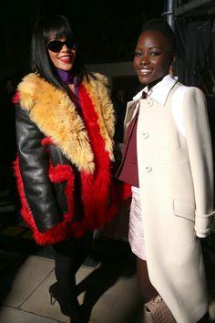 Rihanna and Lupita Nyong'o at the Miu Miu fashion show (2014)