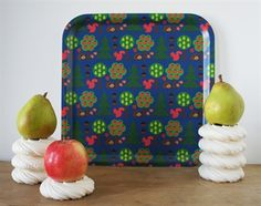 The trays are hand made from Finnish birch veneer and have a melamine based surface. Design: Sara Vestberg Size: 32 x 32 cm Pear Trees, Tree Patterns, Selling Online, Worms, Surface Design, Trays, Apples, Birch, Handmade
