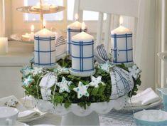 Hingucker auf dem Weihnachtstisch-Adventskranz frisch und grün-Dekorative Kerzen