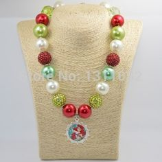 New 2015 50cm Red Green Princess Ariel Little Mermaid Chunky Bead Necklace, Ariel Chunky Necklace, Girls Bubblegum Necklace