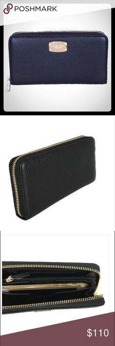 """MK Jet Set Let Her Zip Around Tech Clutch Wallet NWT - """"Summer Blue"""" - continental wallet - pebbled leather - lined - zip around - interior smartphone pouch (iPhone 6/6s/7) - 2 card slots with additional slot with ID window - billfold compartment - 2 gussets - gold-tone hardware MICHAEL Michael Kors Bags Wallets"""