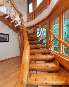 Best Spiral Staircase Centered On Massive Cedar Post Pioneer 400 x 300