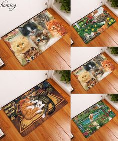 [Visit to Buy] Homing in Front of Entrance Door Mats Colorfast Cute Funny Kitten Cartoon Cats Carpets Kids Bedroom Bedside Foot Pads Decor #Advertisement