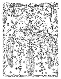 5 Pages Instant Download Animal Spirits to Color Wolf Raven | Etsy Dream Catcher Coloring Pages, Horse Coloring Pages, Pattern Coloring Pages, Cat Coloring Page, Printable Adult Coloring Pages, Flower Coloring Pages, Mandala Coloring, Colouring Pages, Coloring Books