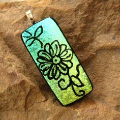 Dichroic Fused Glass  Pendant Hand Etched Fused Glass by GlassCat, $20.00