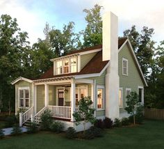 Trendy Exterior Paint Colora For House Bungalow Curb Appeal Ideas Small Cottages, Cabins And Cottages, Cute Cottage, Cottage Style, Small Cottage House Plans, Small House Living, Small Cottage Homes, Red Cottage, Cottage Plan