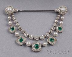 Emerald, Diamond, and Seed Pearl Drapery Brooch, Cartier, c. 1913
