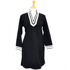 Long Black Winter Tunic~ Best selection of Tunics & matching accessories ~ Flat postage worldwide ~ Petite to Plus sizes ~ www.ilovetunics.com