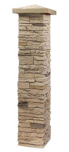 Stone Columns Wraps Kits : Faux stone column wraps with easy install kit pole wrap