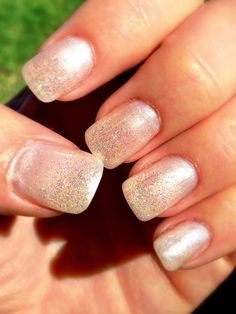 Frosty pearl gel nails with fairy dust glitter