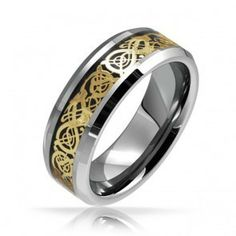 Celtic Dragon Gold and Black Inlay Tungsten Mens Wedding Band Ring 8mm