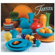 Fiestaware I love this stuff. I'm trying to add to my collection...little by little. Working on 5 pc place settings now. Four down, two to go...