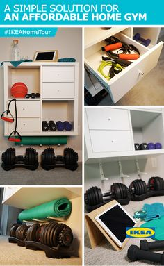 The IKEA Home Tour Squad created a simple solution for an affordable home gym in their master bedroom makeover by using IKEA KALLAX shelves to store the couple's workout essentials, from free weights to jump ropes and more!