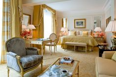 """""""One of my favorite hotels is the Four Seasons Hotel George V in Paris. Every detail is perfection, from the beautiful floral displays and scents when you walk into the lobby to the quintessential Parisian style and extraordinary service."""" From $1,450/night; fourseasons.com"""