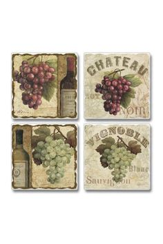 """Chateau Grape Stone Coasters help protect your table from drinks sweating. The coaster have a cork backing so not to scratch or damage your table surface.They make a wonderful gift for any occasion. Sold in sets of 4 coasters.    Measure 3.6"""" Sq. x .3"""" d.   Set of 4 Chateau Coasters by Jems from Jennie. Home & Gifts - Home Decor - Dining Virginia"""