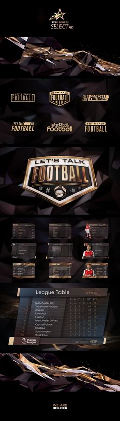Promo Package for Star Sport's Let's Talk Football Show. This consisted of the opening title sequence, logo design, set design and all in-show graphics. The brief was to take inspiration from the gold elements of their channel branding and utilise throughout the entire package in an exciting & relevant way.