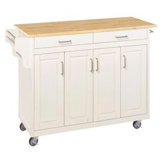 Kitchen Cart with Wood Top - White/Natural Target MY FAVORITE!!!!  $305.99 - FREE SHIPPING...Can hold microwave AND Euro Convection oven.  Four stars in reviews. WOULD NOT NEED TO PURCHASE PANTRY WITH THIS ONE.