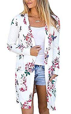 cfb173a412 ECOWISH Womens Boho Irregular Long Sleeve Wrap Kimono Cardigans Casual  Coverup Coat Tops Outwear  Amazon.co.uk  Clothing. Floral CardiganOversized  ...