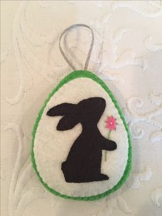 Felt crafts, felt ornament, bunny, rabbit, Easter, flower, embroidery, made by Janis