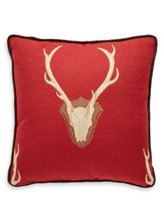"""Oh Deer"" Red Pillow by Daniel Stuart Studio.  Should look great in my man-cave!"