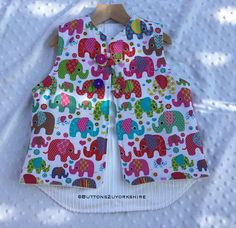 Items similar to Gilet childs age warm and cosy in elephant fun fabrics, boys and girls clothing. Twig and tail on Etsy Age 3, Cosy, Boy Or Girl, Girl Outfits, Elephant, Fabrics, Rompers, Warm, Children