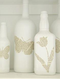 DIY Book page bottles