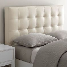 love this leather tufted headboard from WestElm - really elegant mixed with the narrow leg bed frame. Bedroom Bed Design, Home Decor Bedroom, Master Bedroom, Cama Box Casal Queen, Bed Furniture, Furniture Design, Bed Back Design, Camas King, Leather Headboard