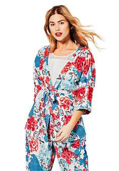 sheego Blusenjacke im Kimono-Stil, hinten leicht gerafft, mit 3/4 Ärmel und Bindegürtel.