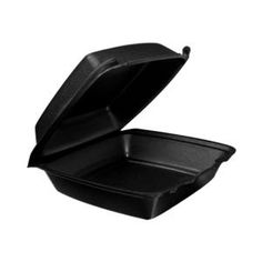 "Dart 85HTB1 8"" x 8"" x 3"" Black Foam Hinged Single Compartment Container 200 / CS"