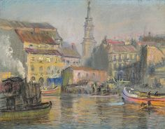 Jerald Melberg Gallery > Artists > Works Available > Works Available - William Partridge Burpee > Burpee - Boats in Harbor