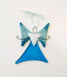Fused Glass Angel Ornament - Christmas Ornament -  Blue and White Angel -Suncatcher - Glass Art - - Holiday Decor - Religious Ornament by StainedGlassYourWay on Etsy