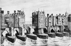 """Old London Bridge. """"From a model by John Thorp in the London Museum."""" From London past and Present In the section """"Before the Great Fire, 1666,"""" p. 21. Traitor's Gate appears at the extreme left, the Drawbridge on Nunsuch House in the center, and St. Magnus Church at the extreme left."""