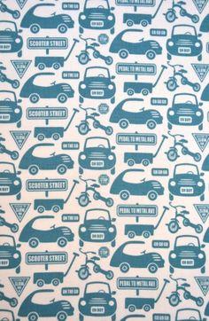 stof riley blake voertuigen blauw