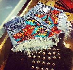 Jeans, denim, print, hot pants #denim #jeans
