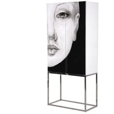 Vogue Face Cabinet - Left ($1,855) ❤ liked on Polyvore featuring home, furniture, storage & shelves, cabinets, interior design, decor and black and white furniture