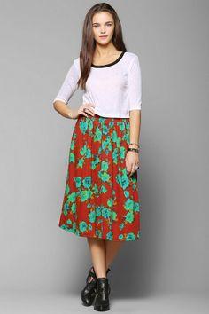 Urban Renewal Floral Jersey Knit Skirt