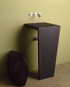 "Zen Pedestal Sink Honed Black with Zucchetti ""Aguablu"""